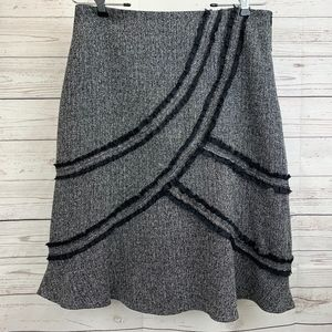 Tribal Black & Gray Fringed A-Line Lined Skirt